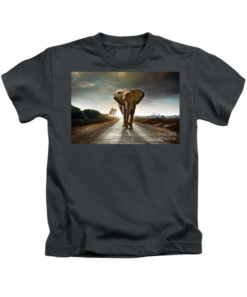 Walking Elephant Kids T-Shirt