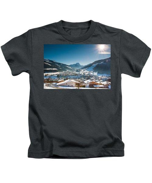 Warm Winter Day In Kirchberg Town Of Austria Kids T-Shirt