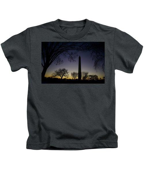 Washington Monument At Twilight With Moon Kids T-Shirt