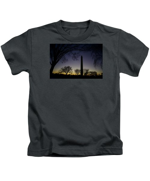 Washington Monument At Twilight With Moon Kids T-Shirt