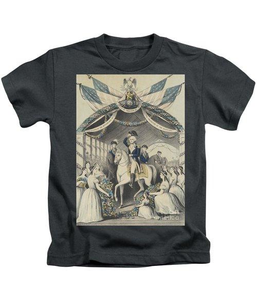 Washington's Reception By The Ladies On Passing The Bridge At Trenton Kids T-Shirt