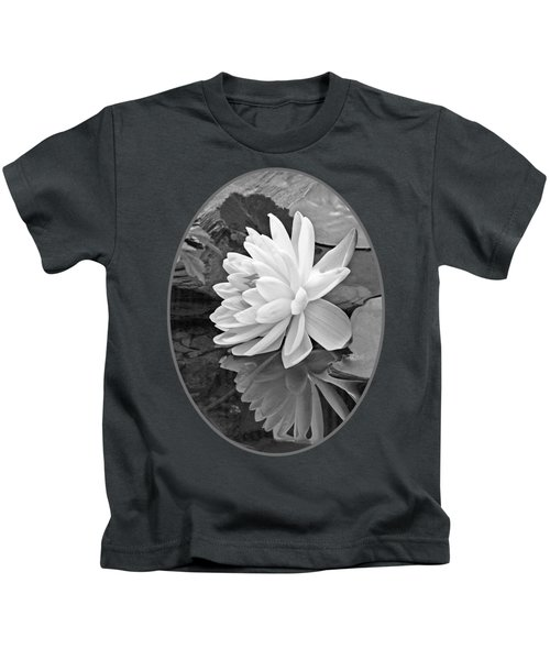 Water Lily Reflections In Black And White Kids T-Shirt by Gill Billington