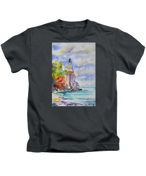 Watercolor - Autumn At Split Rock Lighthouse Kids T-Shirt