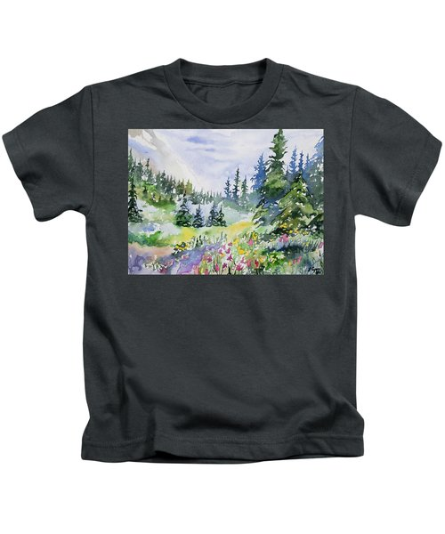 Watercolor - Colorado Summer Scene Kids T-Shirt