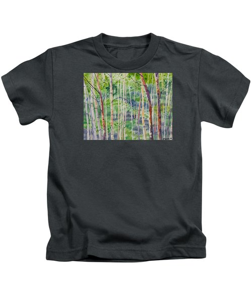Watercolor - Magical Aspen Forest After A Spring Rain Kids T-Shirt