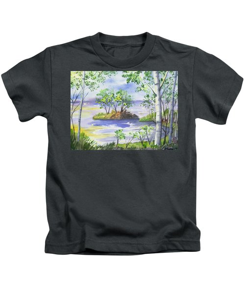 Watercolor - Minnesota North Shore Landscape Kids T-Shirt