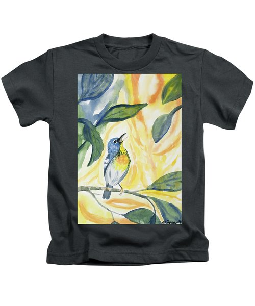 Watercolor - Northern Parula In Song Kids T-Shirt