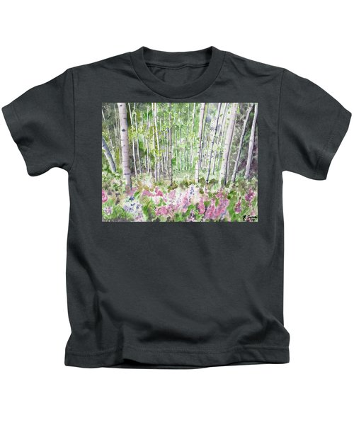Watercolor - Summer Aspen Glade Kids T-Shirt