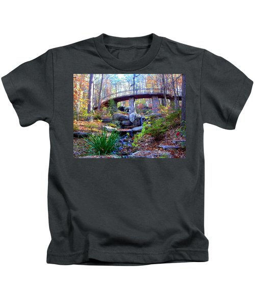 Waterfall And A Bridge In The Fall Kids T-Shirt