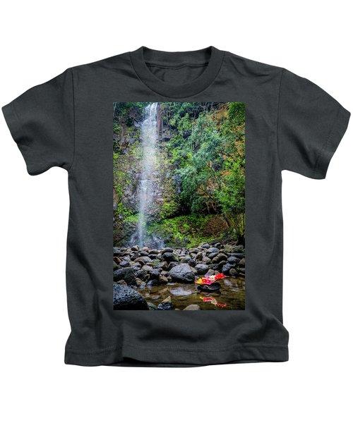 Waterfall And Flowers Kids T-Shirt