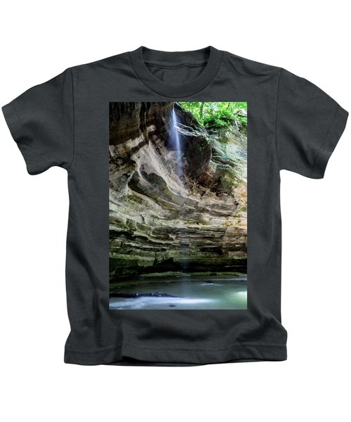 Waterfall In Illinois Sandstone Canyon Kids T-Shirt