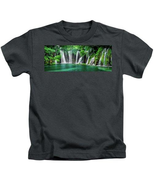Waterfalls Panorama - Plitvice Lakes National Park Croatia Kids T-Shirt