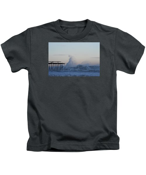 Wave Towers Over Oc Fishing Pier Kids T-Shirt