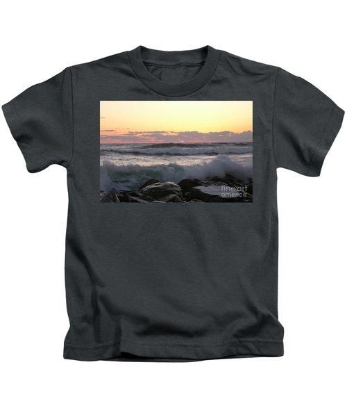 Waves Over The Rocks  5-3-15 Kids T-Shirt