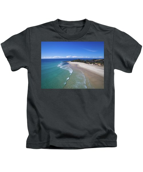 Waves Rolling In To North Point Beach On Moreton Island Kids T-Shirt