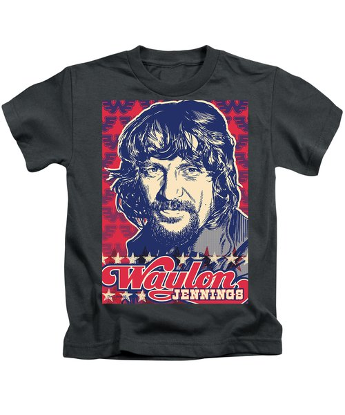 Waylon Jennings Pop Art Kids T-Shirt by Jim Zahniser
