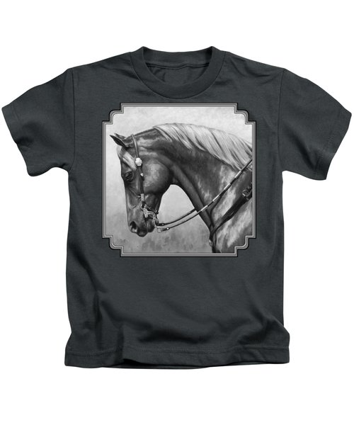 Western Horse Black And White Kids T-Shirt
