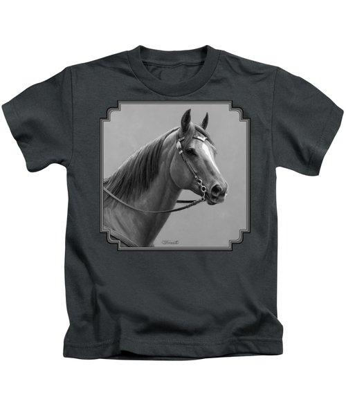 Western Quarter Horse Black And White Kids T-Shirt