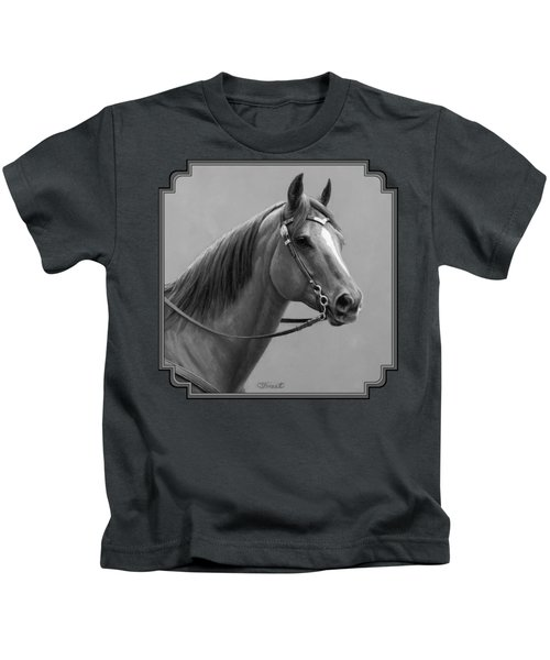 Western Quarter Horse Black And White Kids T-Shirt