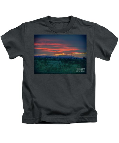 Western Texas Sunset Kids T-Shirt