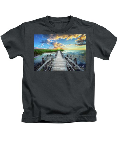 Wetland Marsh Sunrise Treasure Coast Florida Boardwalk A1 Kids T-Shirt