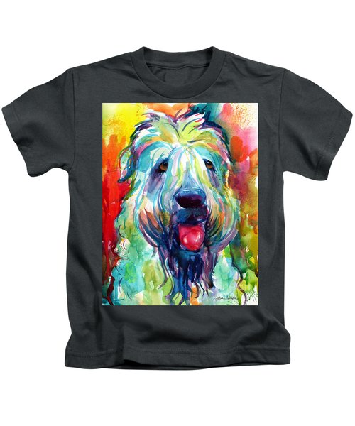 Wheaten Terrier Dog Portrait Kids T-Shirt by Svetlana Novikova
