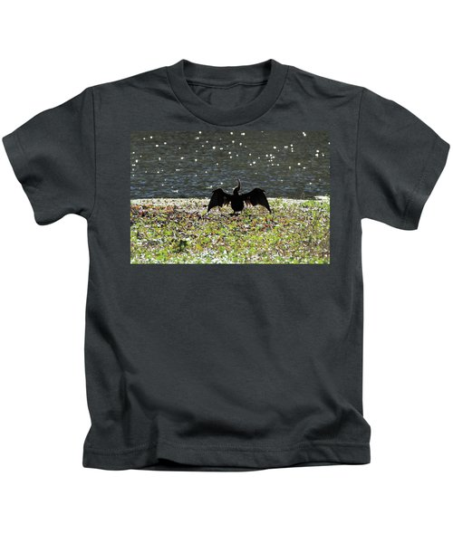 Whimsical Anhinga Stargazer Bird Kids T-Shirt