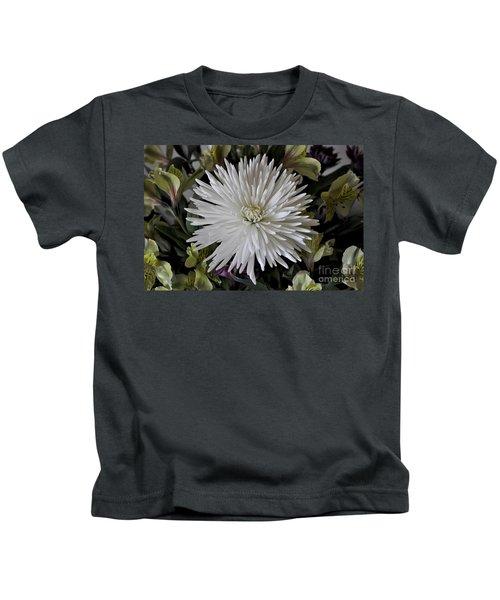 White Chrysanthemum Kids T-Shirt