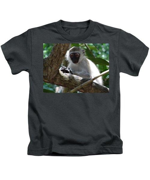 White Monkey In A Tree 4 Kids T-Shirt