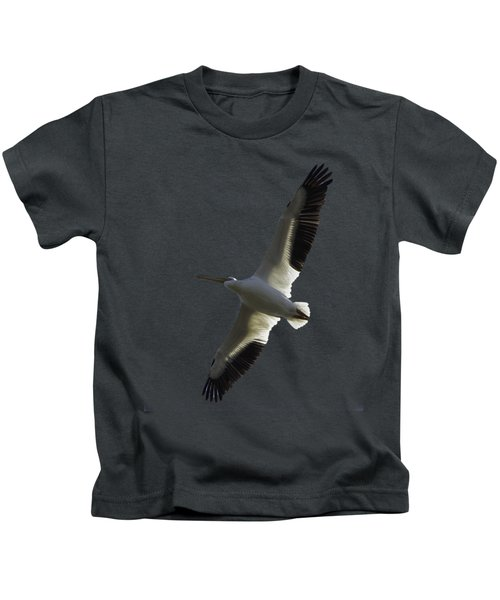 White Pelican In Flight Transparency Kids T-Shirt