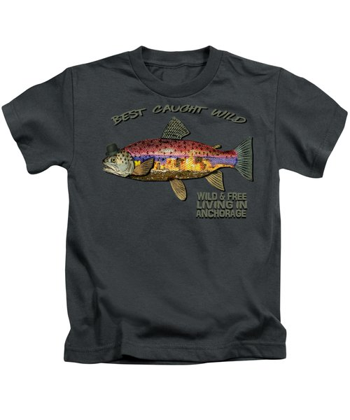 Wild And Free In Anchorage-trout With Hat Kids T-Shirt by Elaine Ossipov