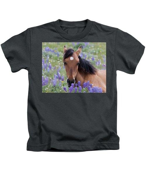 Wild Horse Among Lupines Kids T-Shirt
