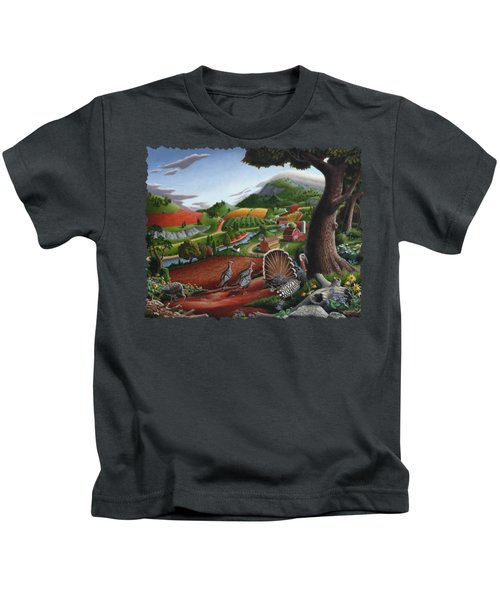 Wild Turkeys Appalachian Thanksgiving Landscape - Childhood Memories - Country Life - Americana Kids T-Shirt