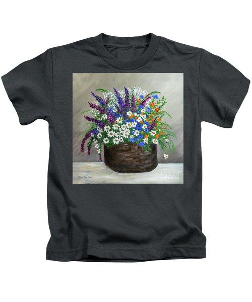 Wildflower Basket Acrylic Painting A61318 Kids T-Shirt