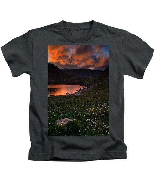 Wildflower Sunset At Summit Lake Kids T-Shirt