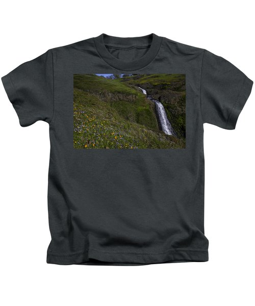 Wildflowers By Waterfall Kids T-Shirt