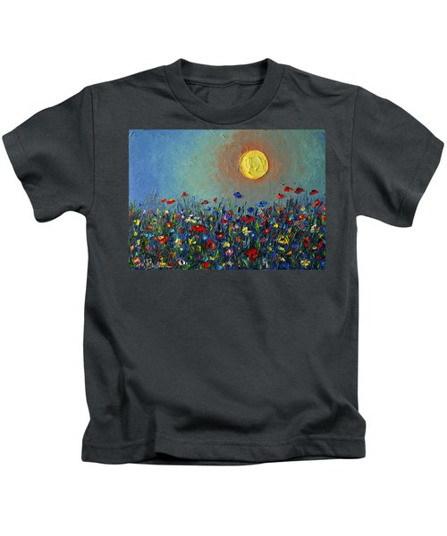Wildflowers Meadow Sunrise Modern Floral Original Palette Knife Oil Painting By Ana Maria Edulescu Kids T-Shirt