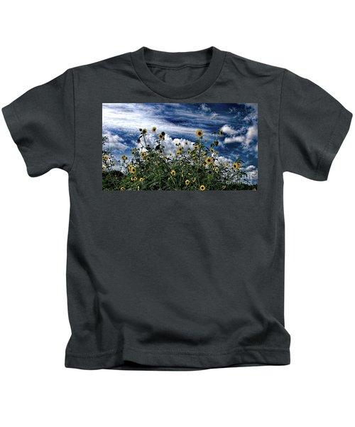Wildflowers On The Brazos Kids T-Shirt