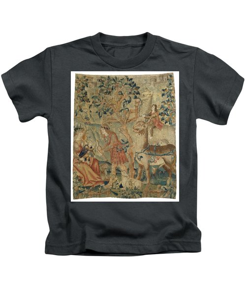 Wildmen And Animals In A Landscape Fragment, Anonymous, C. 1500 - C. 1520 Kids T-Shirt