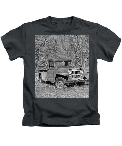 Willys Jeep Pickup Truck Monochrome Kids T-Shirt