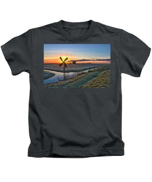 Windmill At Sunrise Kids T-Shirt