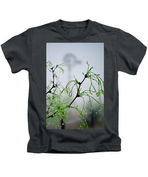 Windmill In The Mist Kids T-Shirt