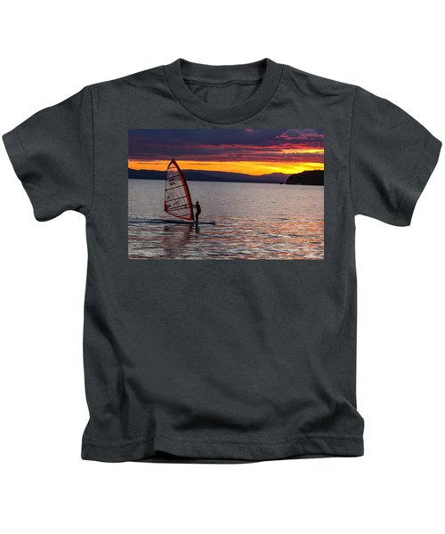 Windsurfing Lake Champlain Kids T-Shirt