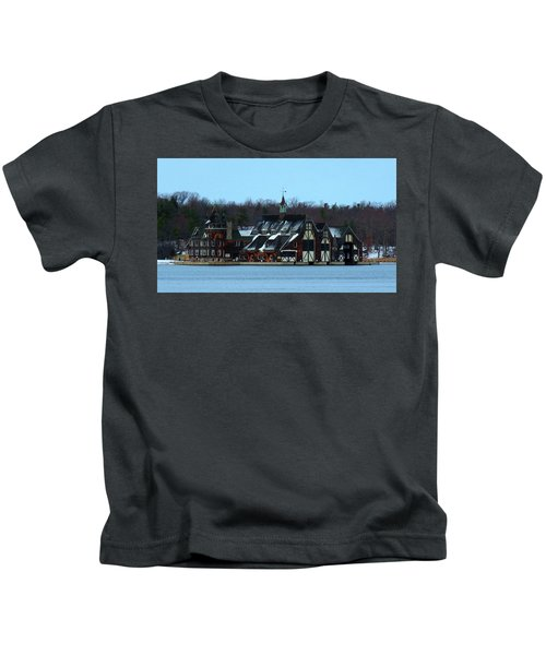 Snow On Boldt Castle Yacht House Kids T-Shirt
