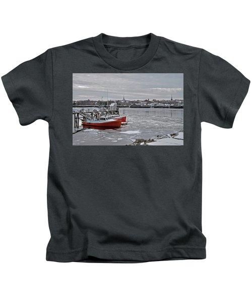 Winter At Newburyport Harbor Kids T-Shirt
