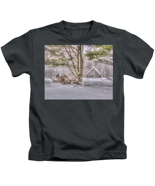 Winter At The Woods Kids T-Shirt