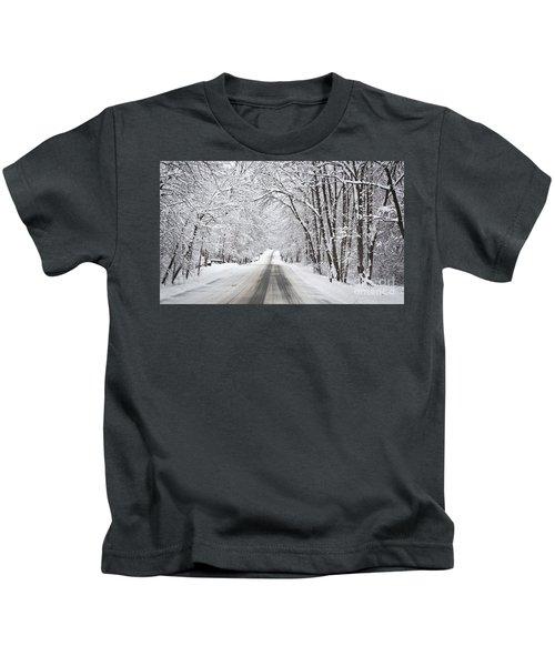 Winter Drive On Highway A Kids T-Shirt