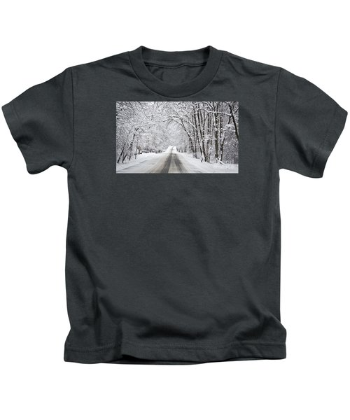 Winter Drive On Highway A Kids T-Shirt