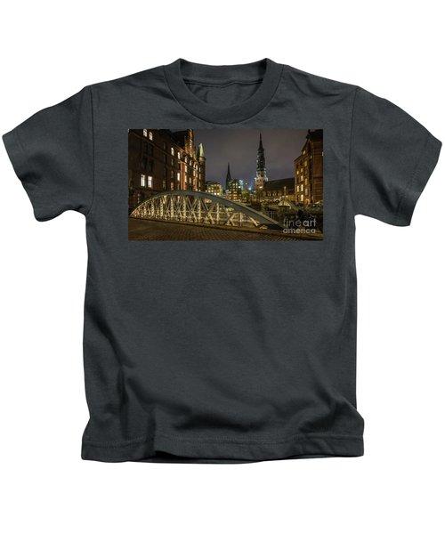 Winter Evening In Hamburg  Kids T-Shirt