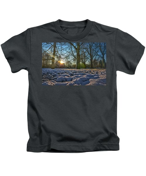 Winter In The Park Kids T-Shirt